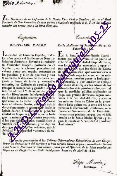 1832. Bula de indulguencia a los asistentes a la  procesión del Santo Entierro solicitada por la Vera Cruz de León AHDL. Fondo parroquial, 105.25.