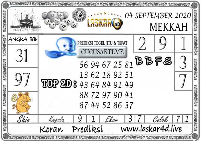 Prediksi Togel MEKKAH LASKAR4D 04 SEPTEMBER 2020