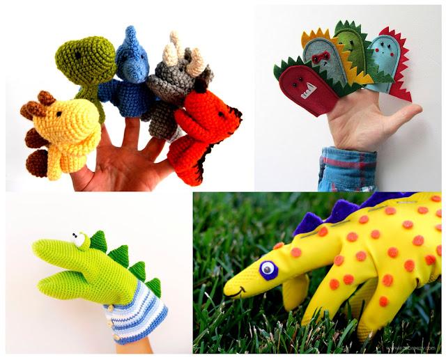 dinozaury - pacynki diy - pacynki- zabawa z dzieckiem