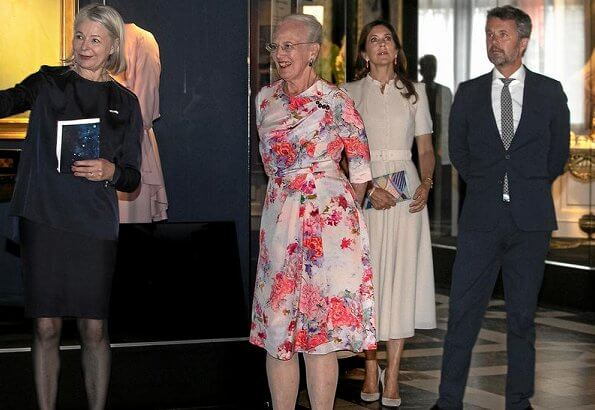 Crown Princess Mary wore a new puff-sleeve belted wool dress by Beulah London. Beulah Ahana midi dress. Queen Margrethe and Crown Prince Frederik