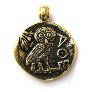 "Кулон ""Тетрадрахма"" бронза купить сова подвеска монета"