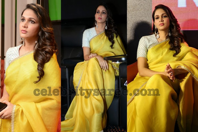 Lavanya Tripati Plain Yellow Saree