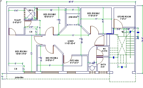 3d house design drawing 3 bedroom 2 storey perspective for House plan cad file