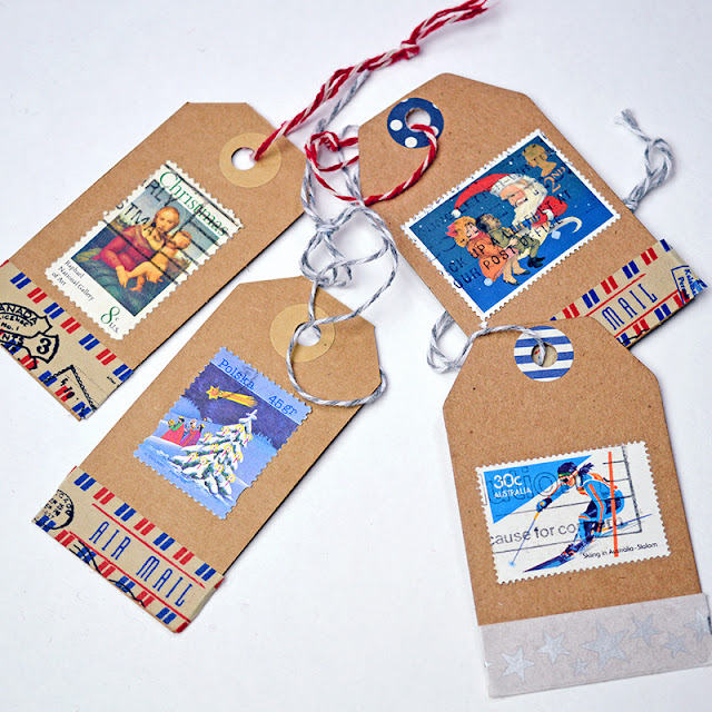 postage stamp gift tags featured at MySalvagedTreasures.com