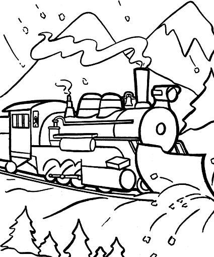 Polar express christmas free coloring pages for Santa train coloring page