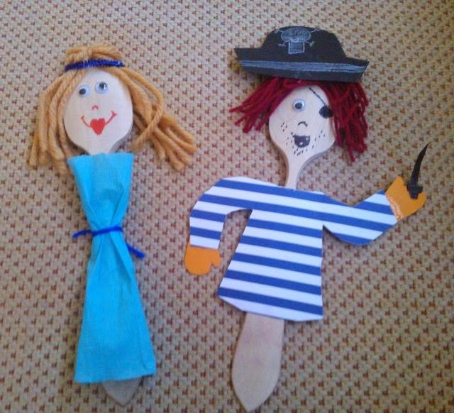 princesa y pirata hechos con una cuchara de madera en Diy show funkypatch