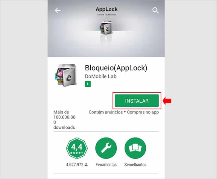 Instalando aplicativo AppLock