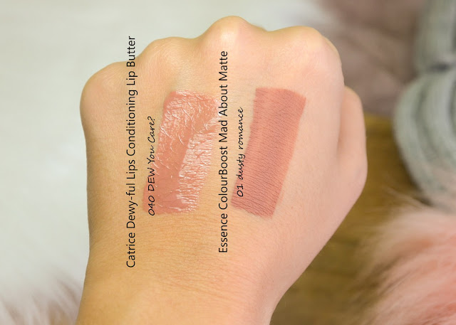 Catrice Dewy-ful Lips Conditioning Lip Butter and Essence Colour Boost Mad About Matte Liquid Lipstick Swatches