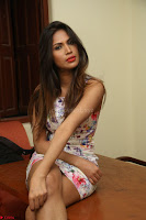 Nishi Ganda stunning cute in Flower Print short dress at Tick Tack Movie Press Meet March 2017 215.JPG