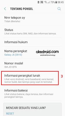 Informasi perangkat lunak di pengaturan samsung galaxy j5 2016 android