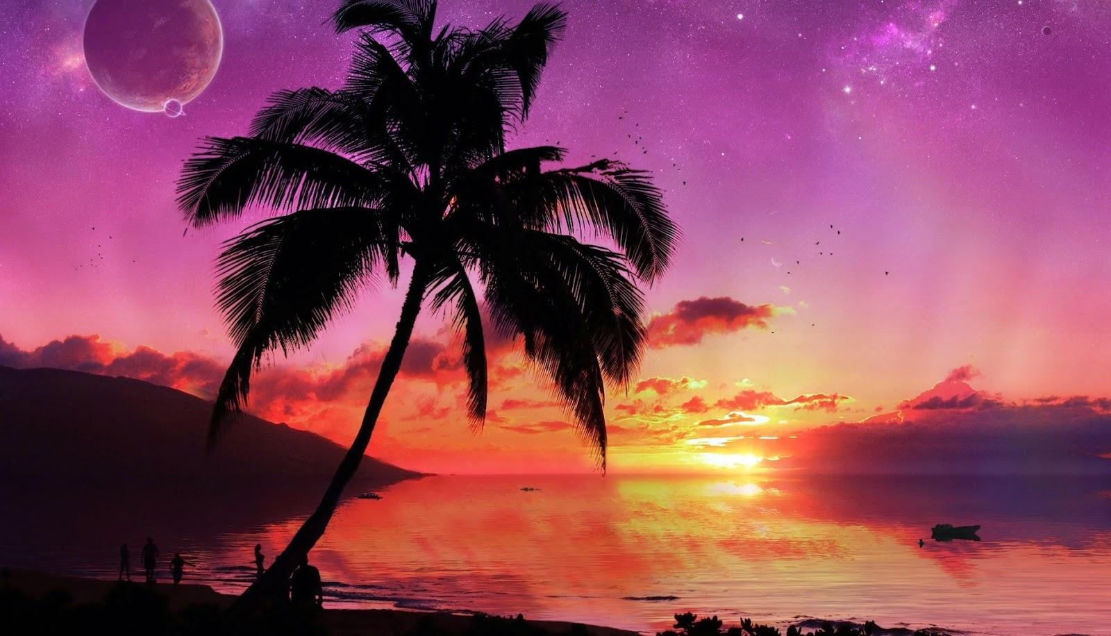 Mensen op het strand bij zonsondergang
