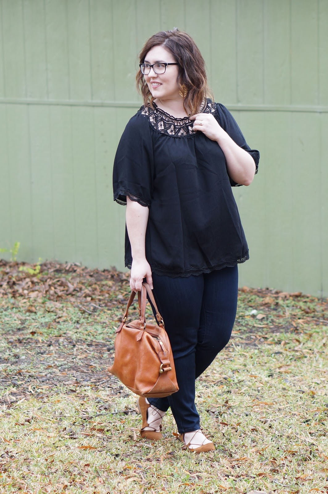 Rebecca Lately Zaful Off The Shoulder Black Top Just Black Ankle Jeans Stitch Fix Target Kady Flats Madewell Kensington Satchel