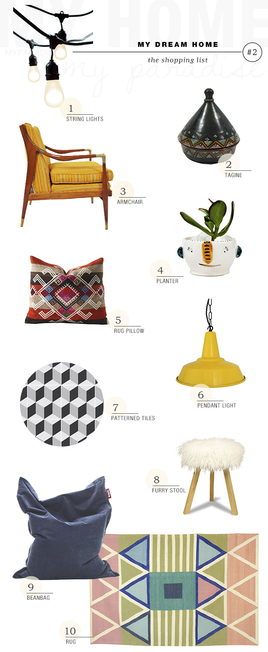 Style board shopping list for my dream home