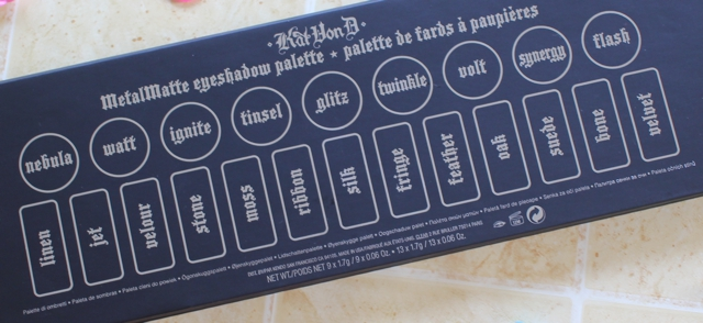 Review, swatches with the Kat von D Metal Matte Eyeshadow Palette.