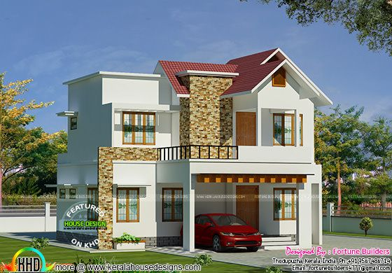 Cute mixed roof villa by fortune builders kerala home for New model veedu photos