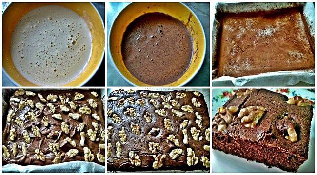 Preparación del brownie de nueces sin azúcar