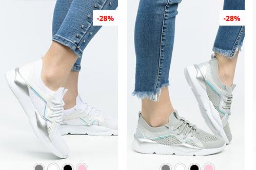 Pantofi sport dama gri, Albi moderni cu argintiu