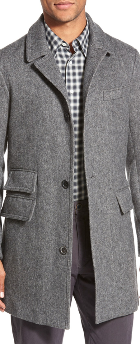 Billy Reid 'Astor' Three-Button Herringbone Overcoat