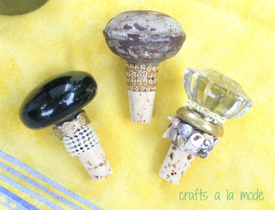 old doorknobs turned into wine toppers with small corks