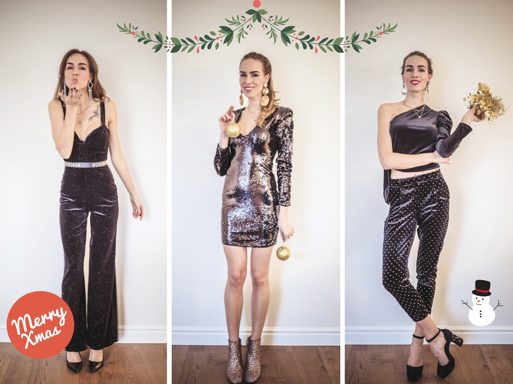 holiday party style black sequin embellished outfits