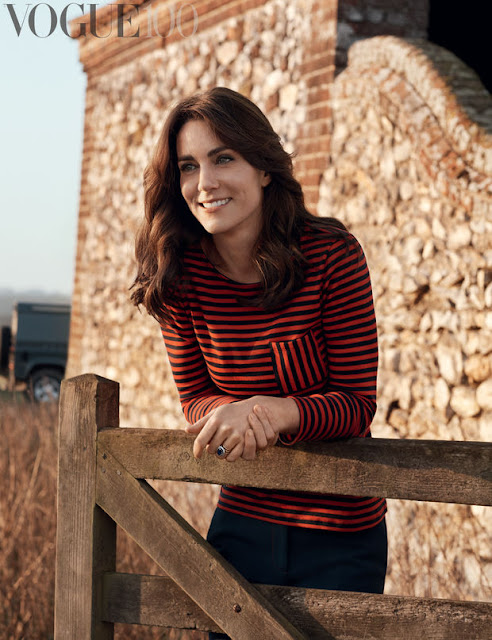 Kate Middleton in Burberry trousers and a Petit Bateau top. Photo: Josh Olins