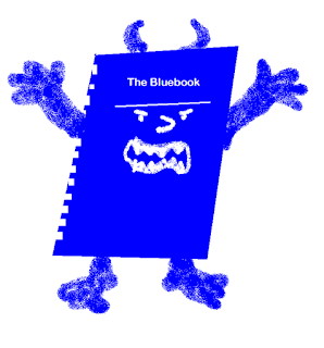 cartoon of the Bluebook as a monster