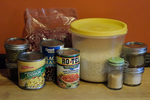 The ingredients needed for the Mexican Fried Rice.