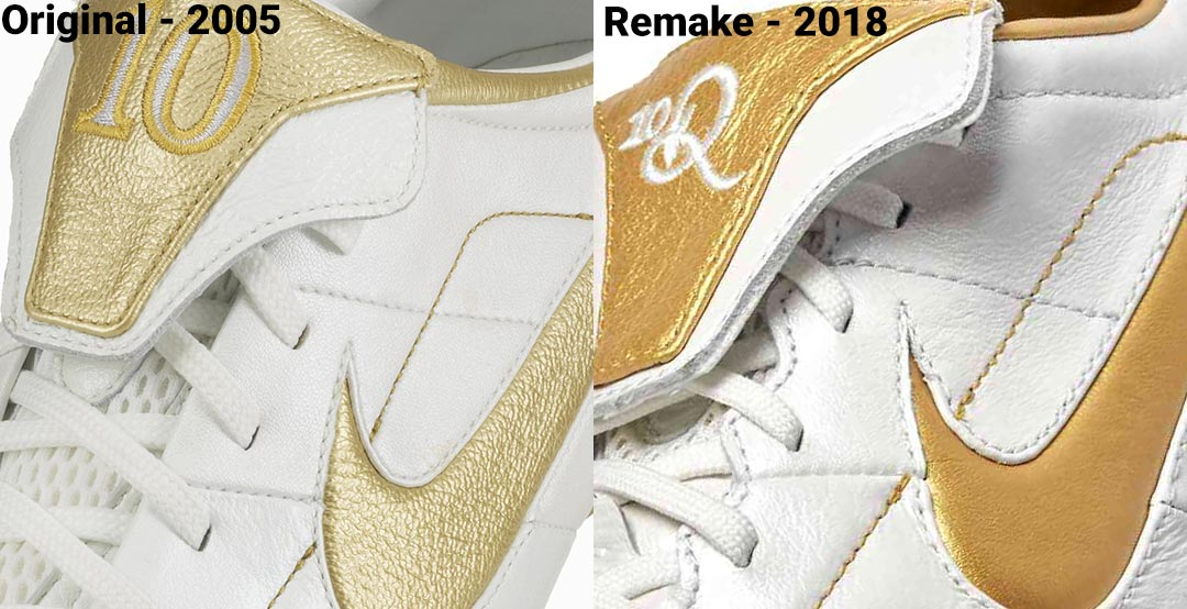 0e0665f80a0 The Nike Air Legend R10 2018 remake is much less different to the classic  2005 boot than the Nike Tiempo  Touch of Gold  Ronaldinho boot Nike  released in ...