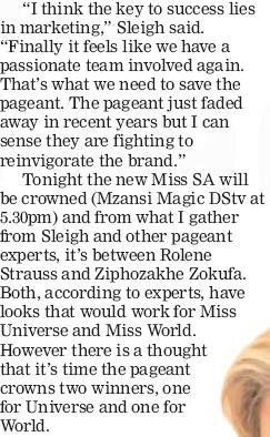 Eye For Beauty: Miss SA Article in KwaZulu Natal Sunday