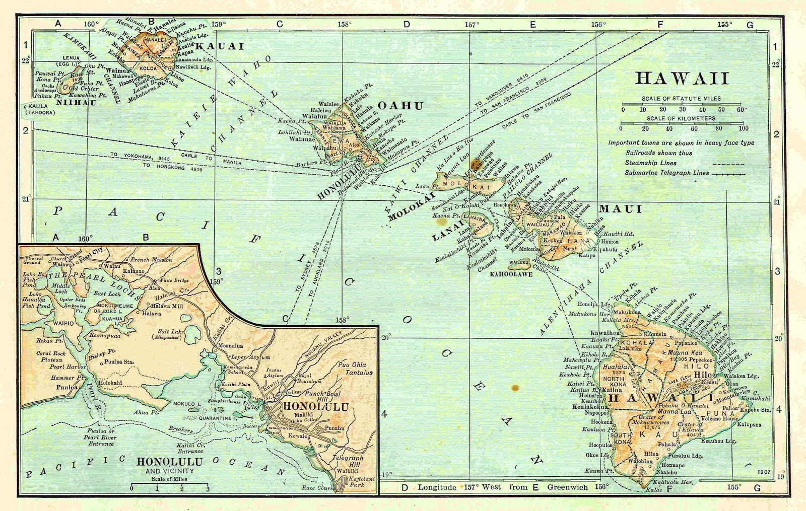 Antique Images: Free Map Clip Art: Vintage Map Background of Hawaii