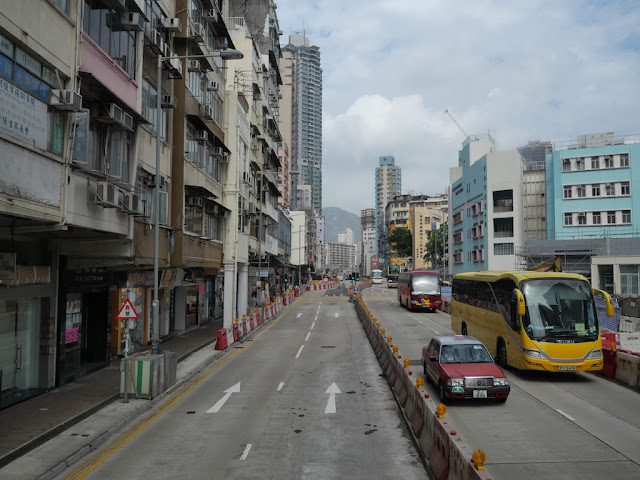 View of Ma Tau Wai Road from the upper level of a Hong Kong double-decker bus