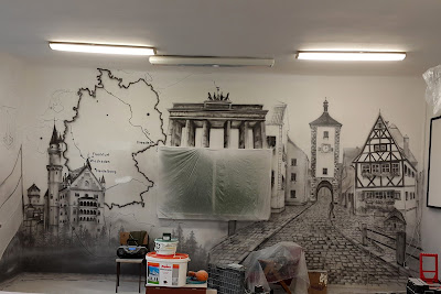 Malowanie obrazu na ścianie  w sali językowej, Mural 3D Warszawa, malowanie obrazów na ścianie