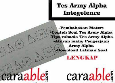 Tips Rahasia dan Contoh Soal Tes Army Alpha Intelegence lengkap dengan Pembahasan  dan juga ada bagian download soal army alpha test