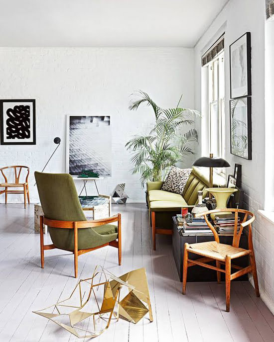 Safari Fusion blog >< A green seat | Mid century style seating in a Cape Town apartment