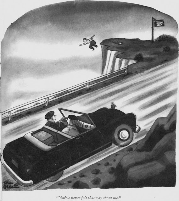 Charles Addams - Lovers Leap - You've never felt that way about me.
