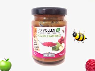 Pollen et Purée de fruits bio pomme framboise - Pollenergie