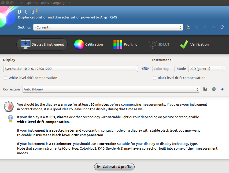 Display calibration and profiling in Ubuntu with ColorHUG