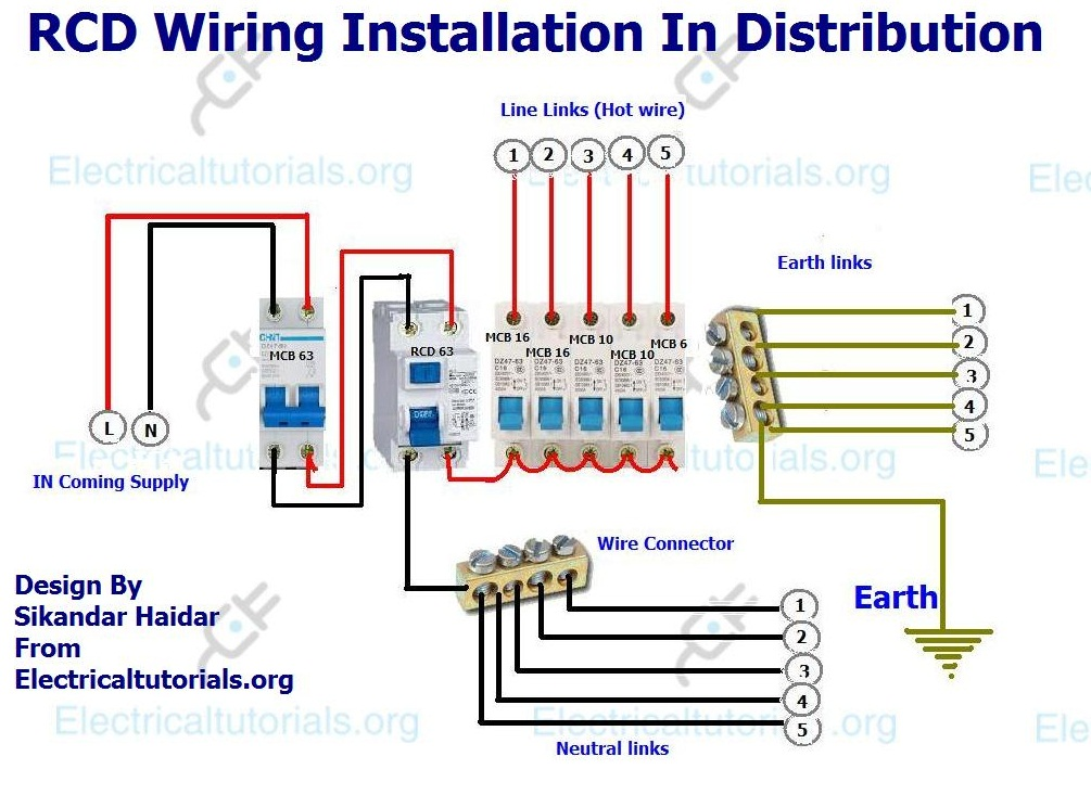 rcd wiring installation in single phase distribution board rh electricaltutorials org rcd wiring diagram nz rcd wiring diagram installation