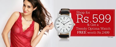 Free Optima Trendy Watch on Purchase worth Rs.599 or above at MoodsofCloe