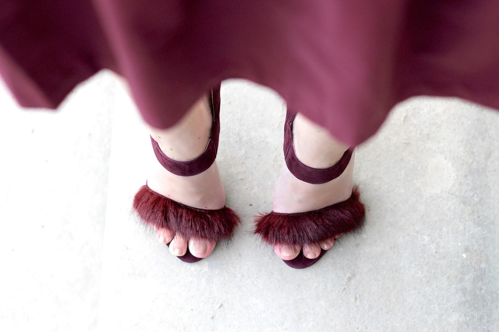 Fur trimmed burgundy Karen Millen high heel sandals