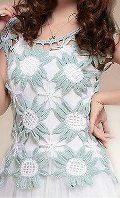 Patrón de Blusa a crochet con motivos florales