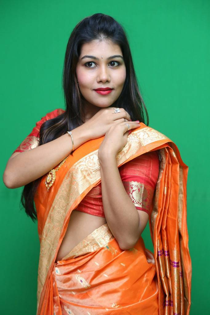 Rachana Smith In Traditional Orange Saree Photo Shoot Stills