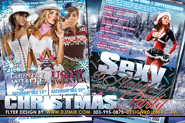 Christmas Country White Ugly Sweater and Sexy And Naughty Nightclub Party Flyer Designs