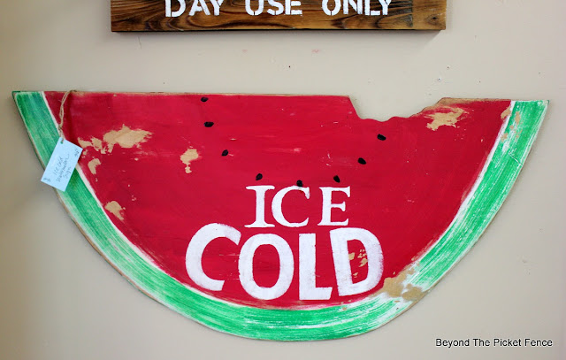 vintage sign, watermelon, produce sign, DIY, picnic, display, summer ideas, http://bec4-beyondthepicketfence.blogspot.com/2016/06/picnic-time.html