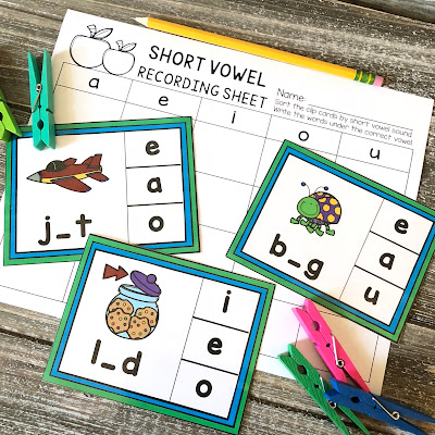 Short vowel clip card activity