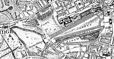 Rocque's Map of London of 1741-5 showing the Green Park  in London in the Eighteenth Century by Sir Walter Besant (1902)