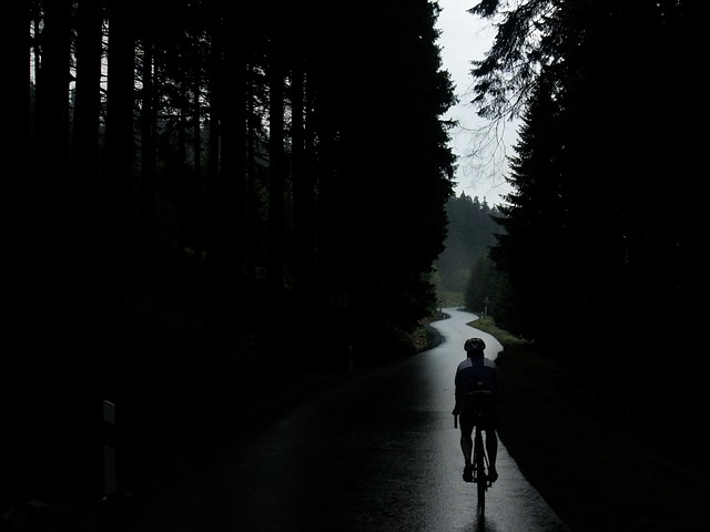 riding bicyle while raining