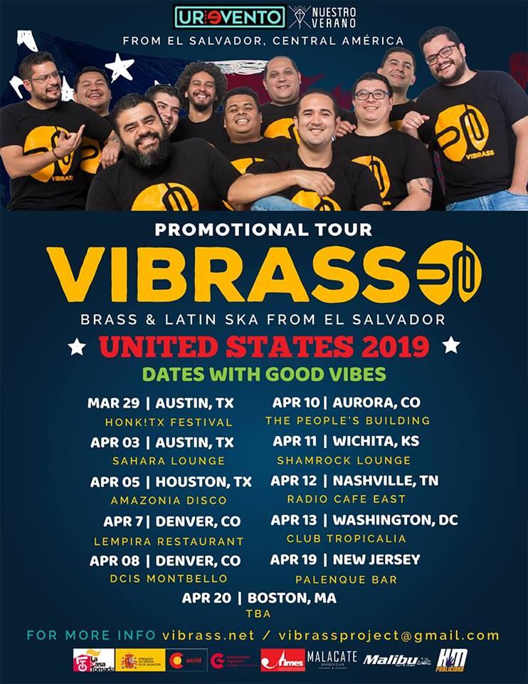 Banda salvadoreña Vibrass de gira por Estados Unidos del 29 de marzo al 30 de abril