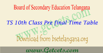TS ssc pre final time table 2019, 10th class exam dates