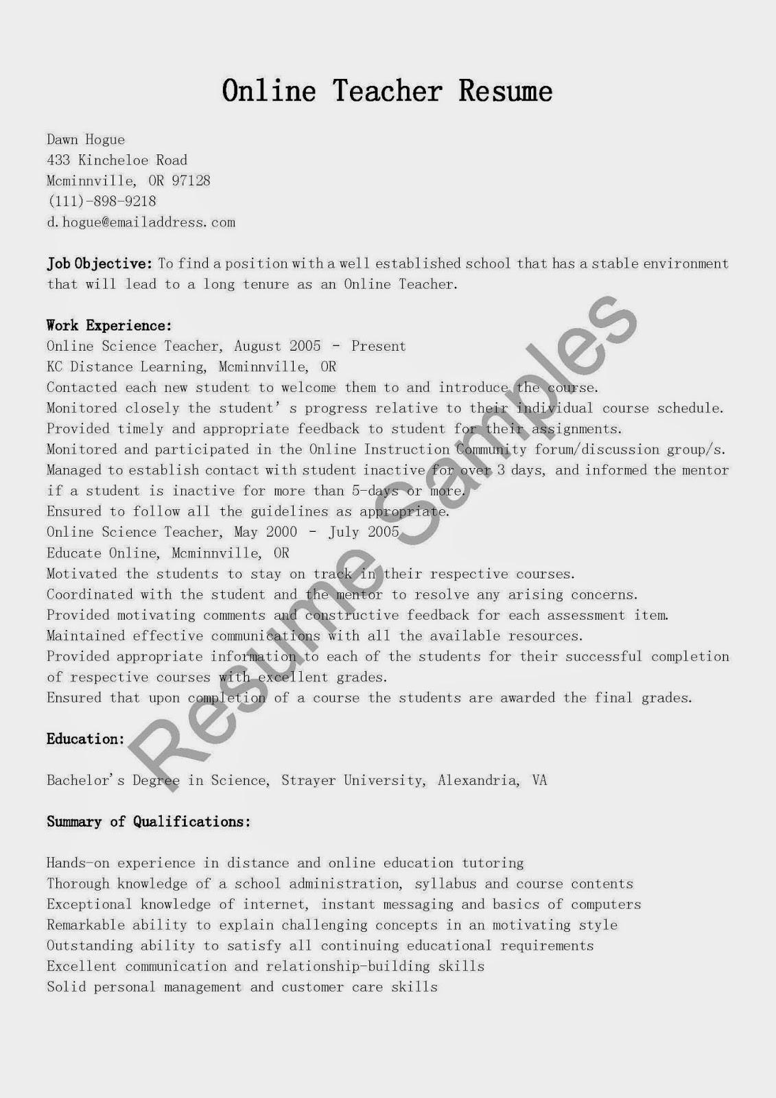 resume samples  online teacher resume sample